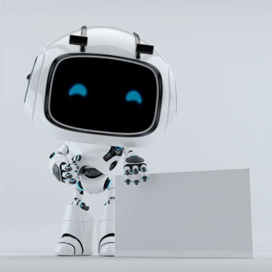 white robot promoter with empty board free space for your advertising