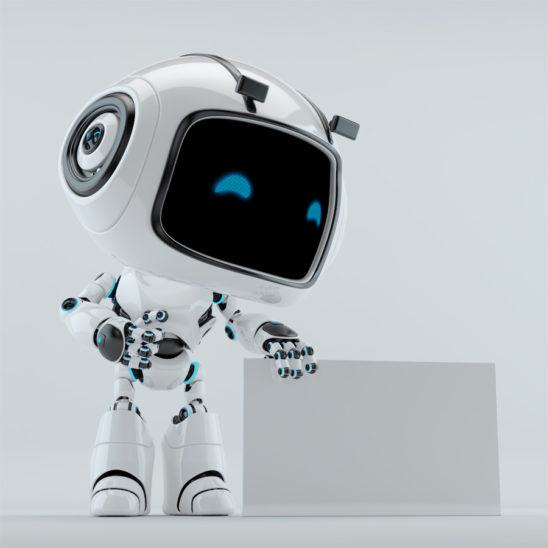 White robot with empty board. Digital blue eyes with mask and glossy screen