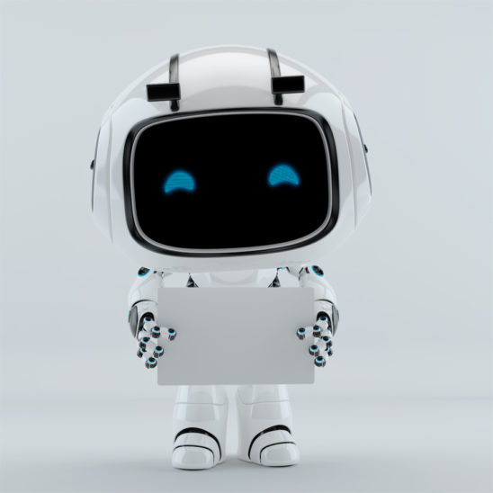 cute robot unit 9 holding white blank board for your ad