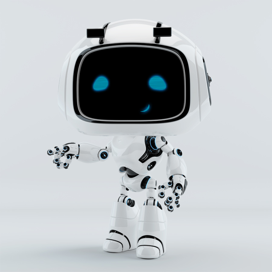 Cute unit 9 robot character is pointing on something
