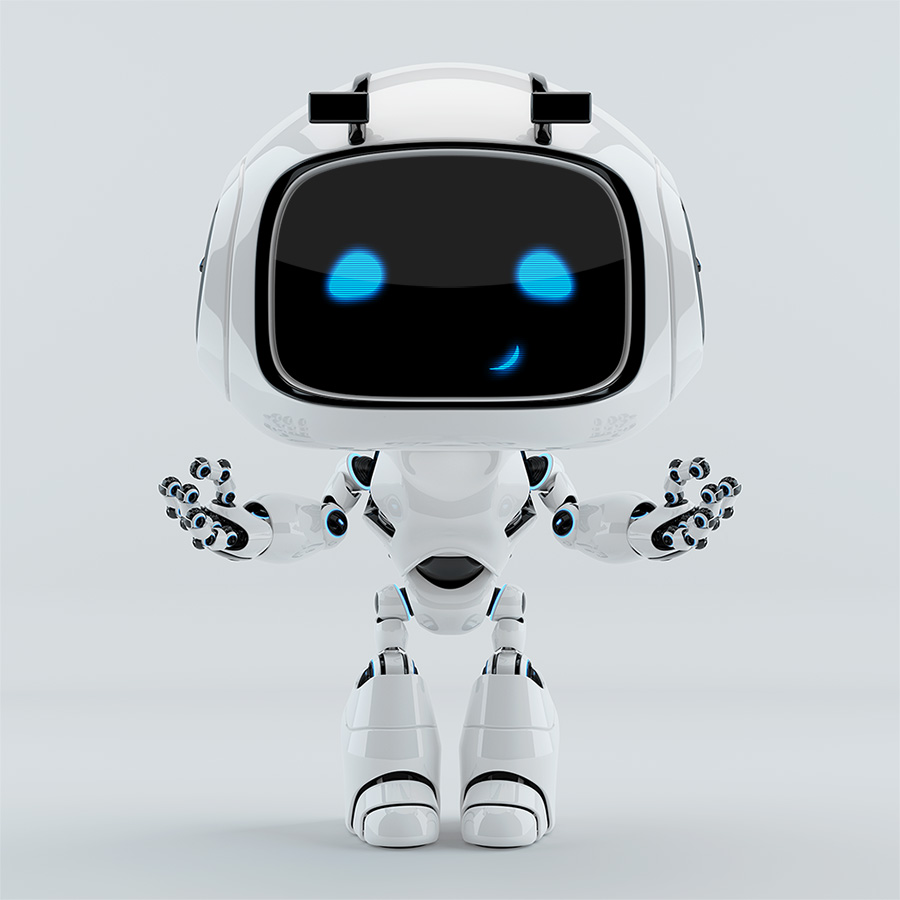 positive cute smiling robot unit 9 gesturing