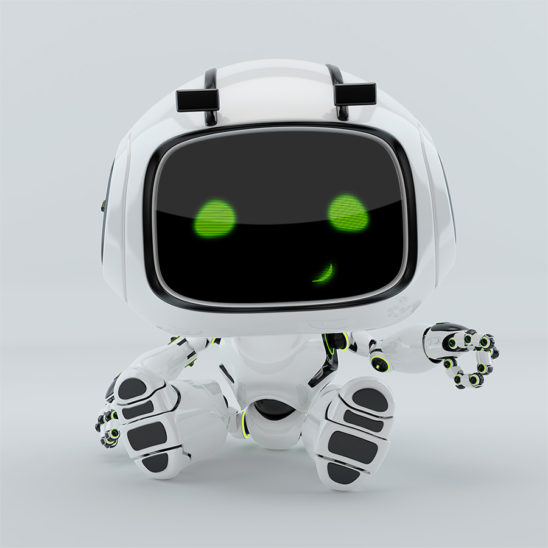 cute sitting and smiling robotic toy