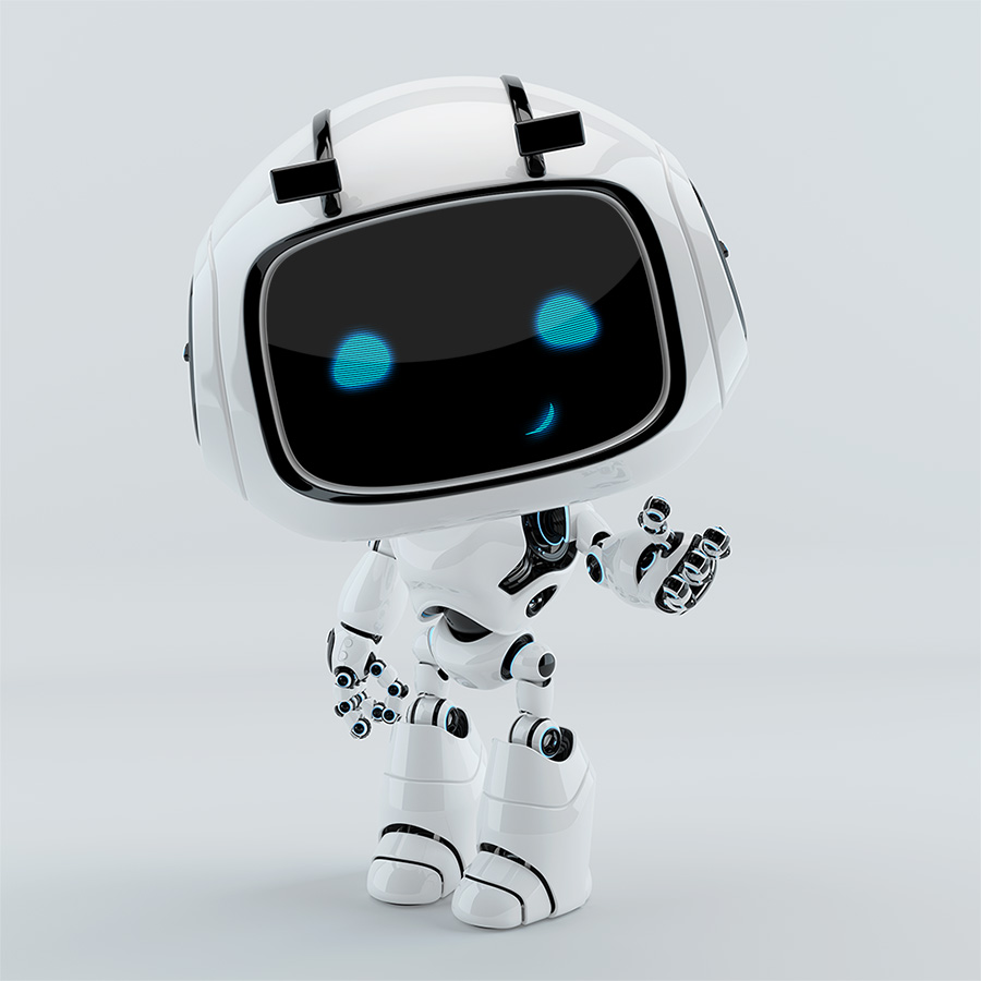 robotic character gesturing