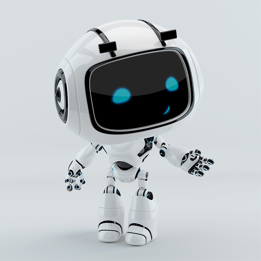 Smiling gesturing robotic character, unit 9