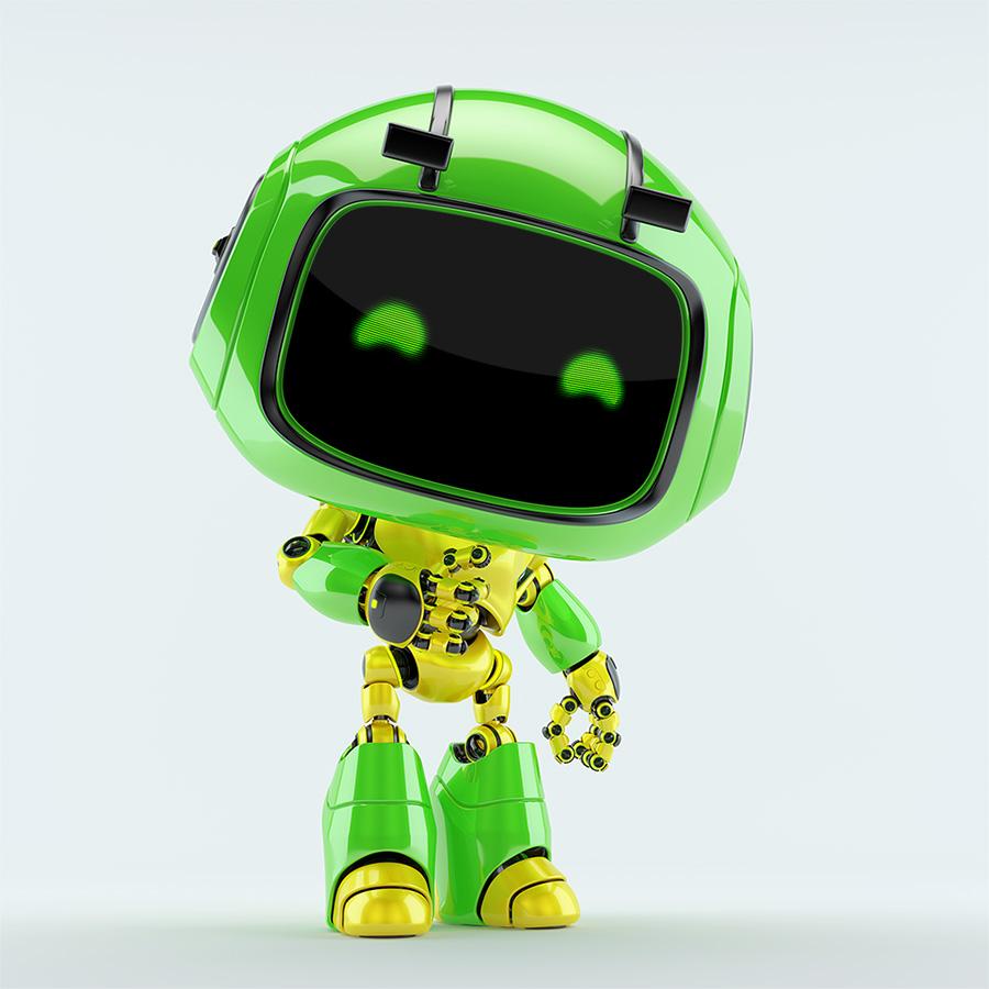 Cute green robot toy