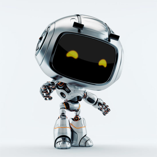 Silver robotic character - unit 9, standing in semi turned position and gesturing, raising arms up