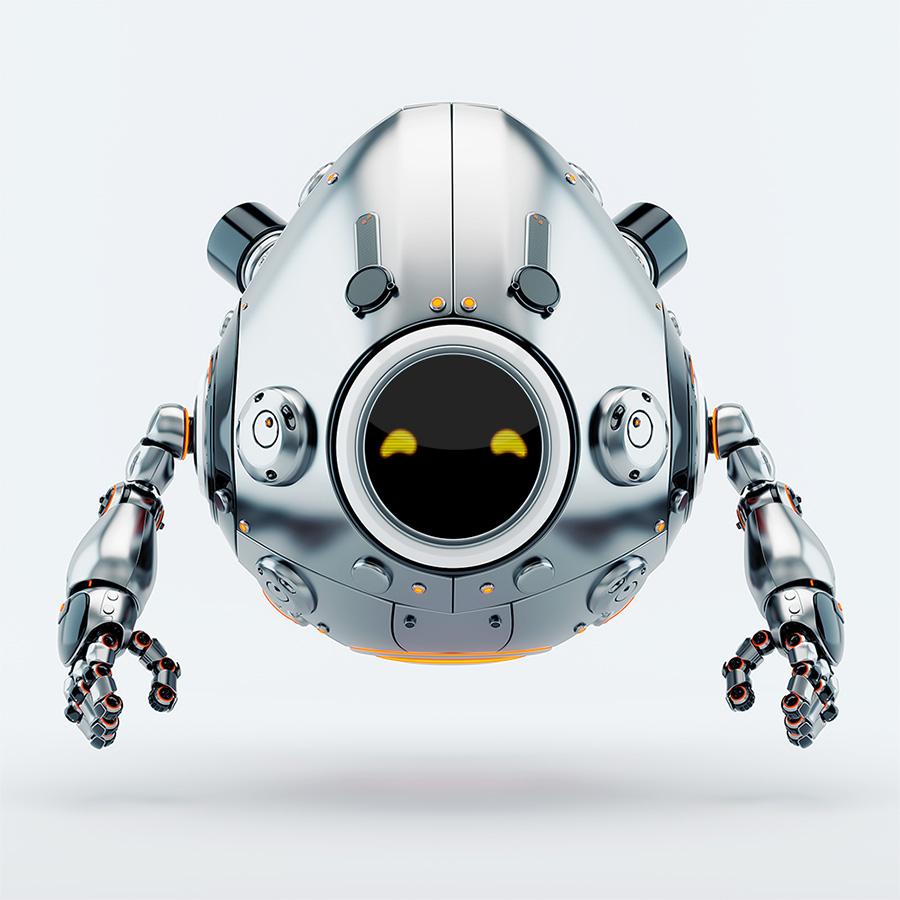 Silver egg robot