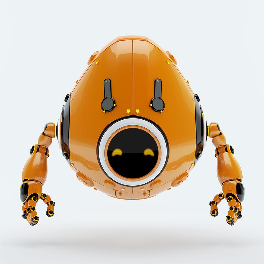 orange juicy robotic egg