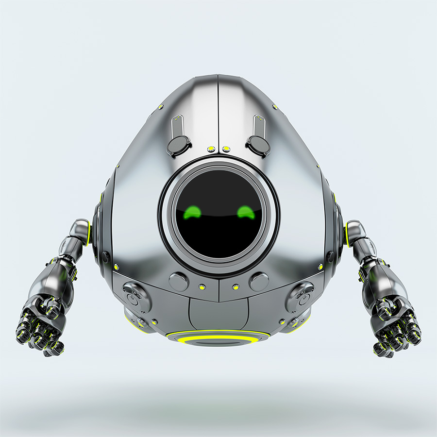 silver steel robot egg levitating