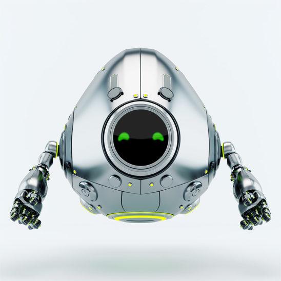 Stylish robotic silver egg robot creature