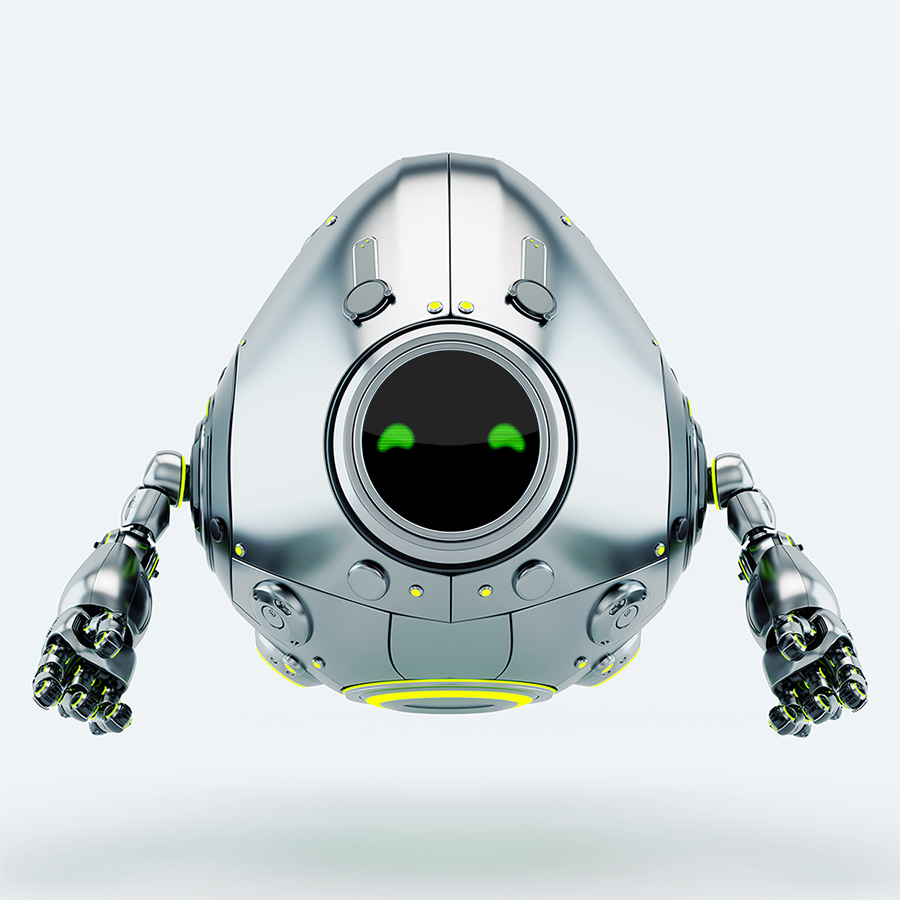 Stylish robotic silver egg robot creature