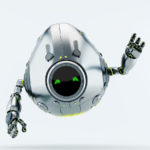 Silver egg bot with raised arm greets you. Front render