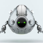 matte silver robotic egg character