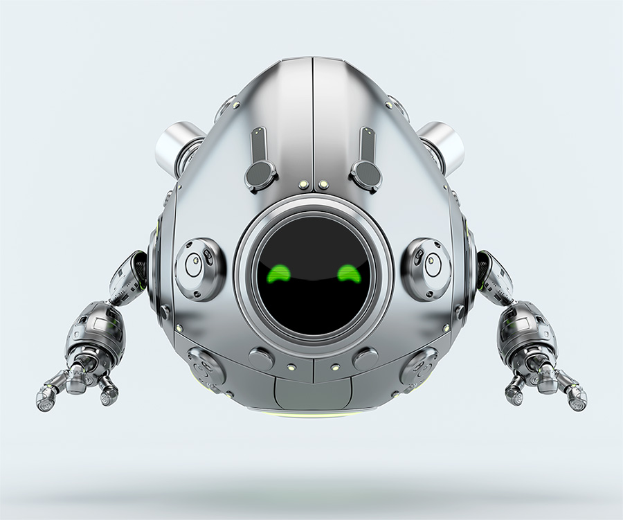 matte silver robotic egg character