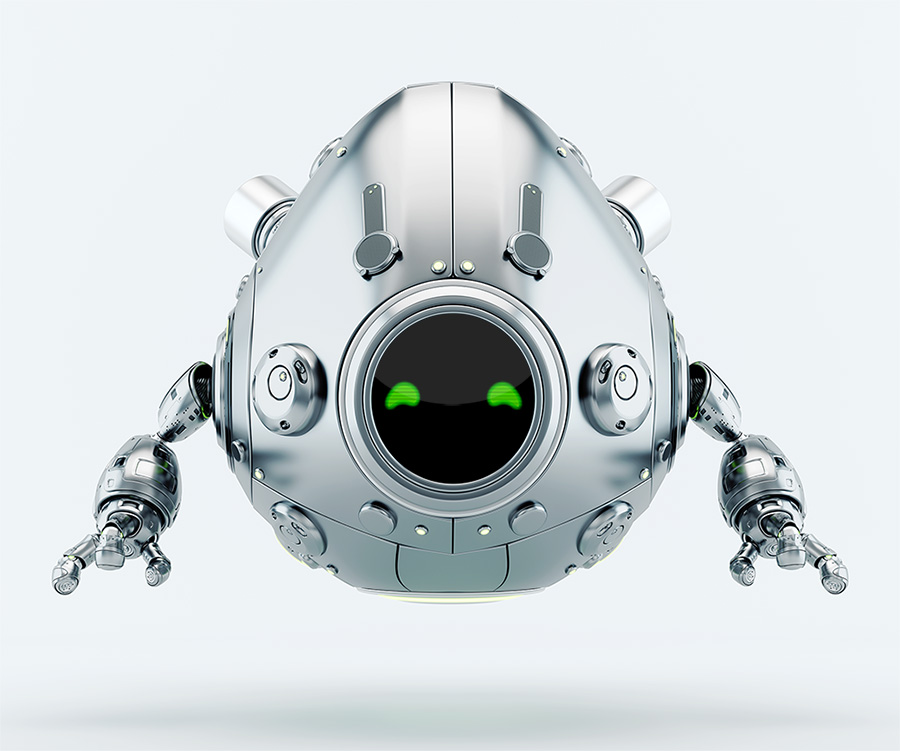 Silver robotic egg character