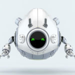 robotic egg character with green digital eyes
