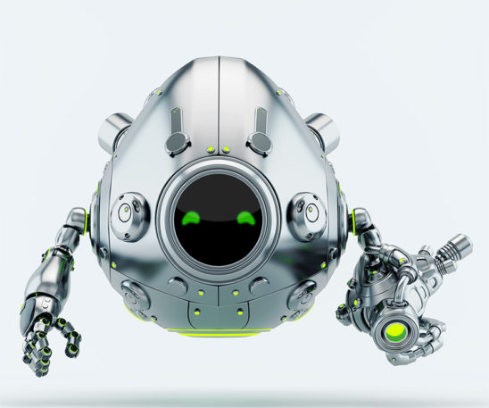 Silver metal robotic egg warrior with futuristic gun blaster