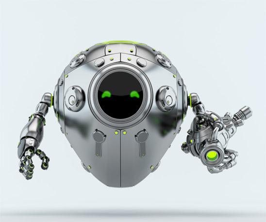 Silver metal robotic egg warrior with futuristic gun blaster