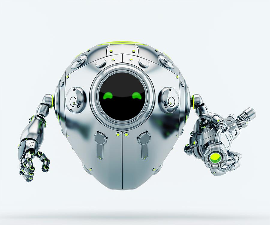 Silver metal robotic egg soldier with futuristic gun blaster