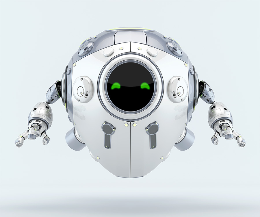 White-silver robotic egg creature levitating with green digital eyes