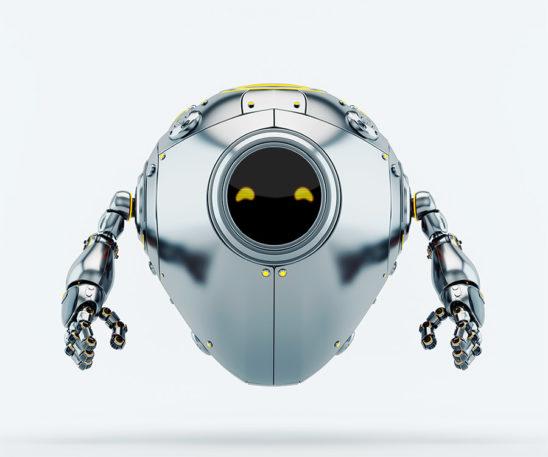 Silver cyber egg with digital orange eyes