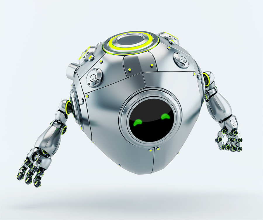 Smart robotic aero egg with green eyes gesturing