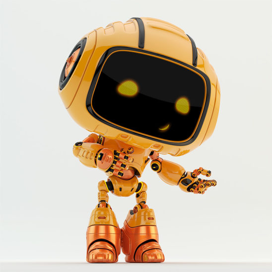 Smiling and pointing robot engineer in orange color