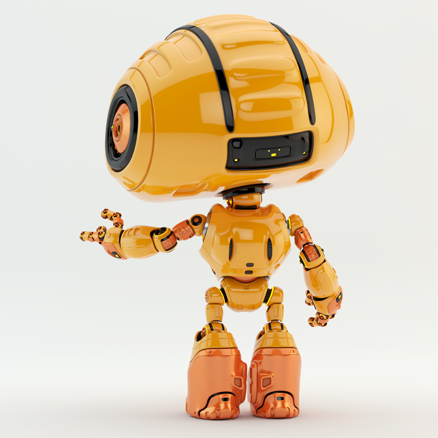 Orange robotic engineer backwards gesturing, asking for something