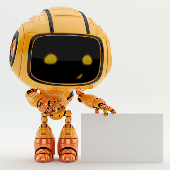 robotic engineer bot working as pr manager, standing near blank white board for your ad