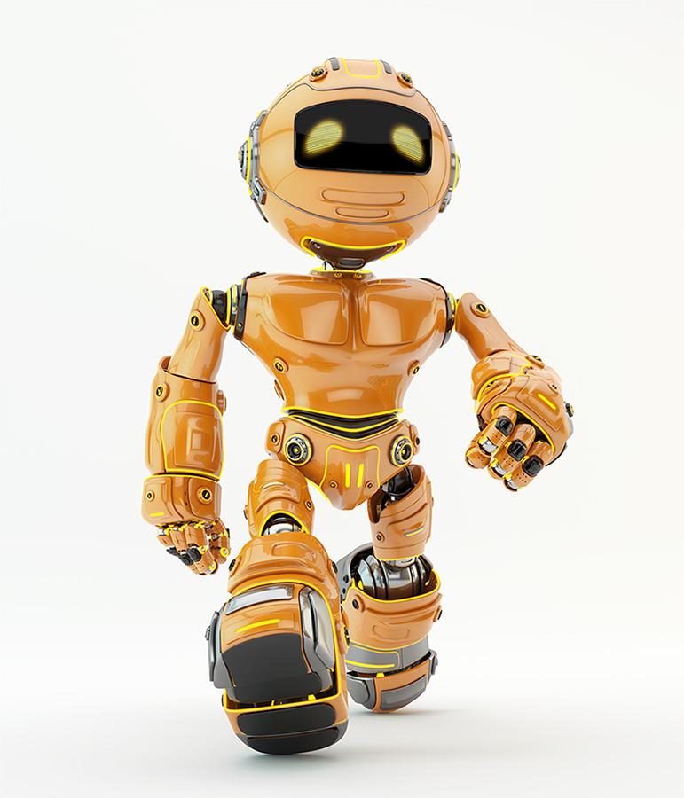 Orange robotic unit 5 walking forward