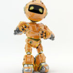 Orange robotic unit 5 character showing ok sign and pointing on you
