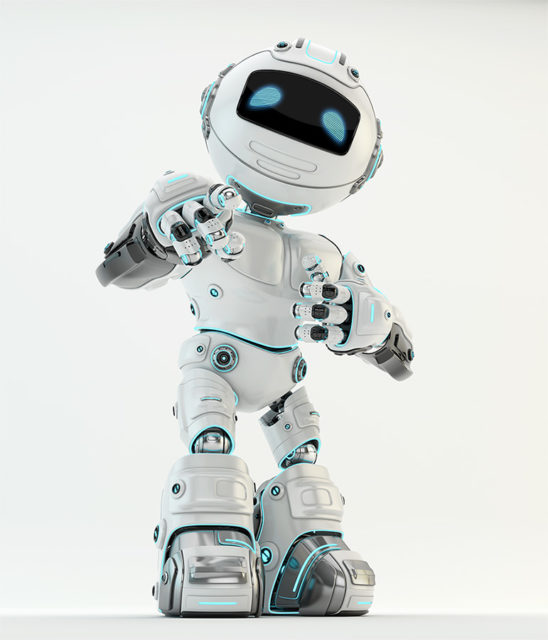 White robotic unit 5 character showing ok sign and pointing on you