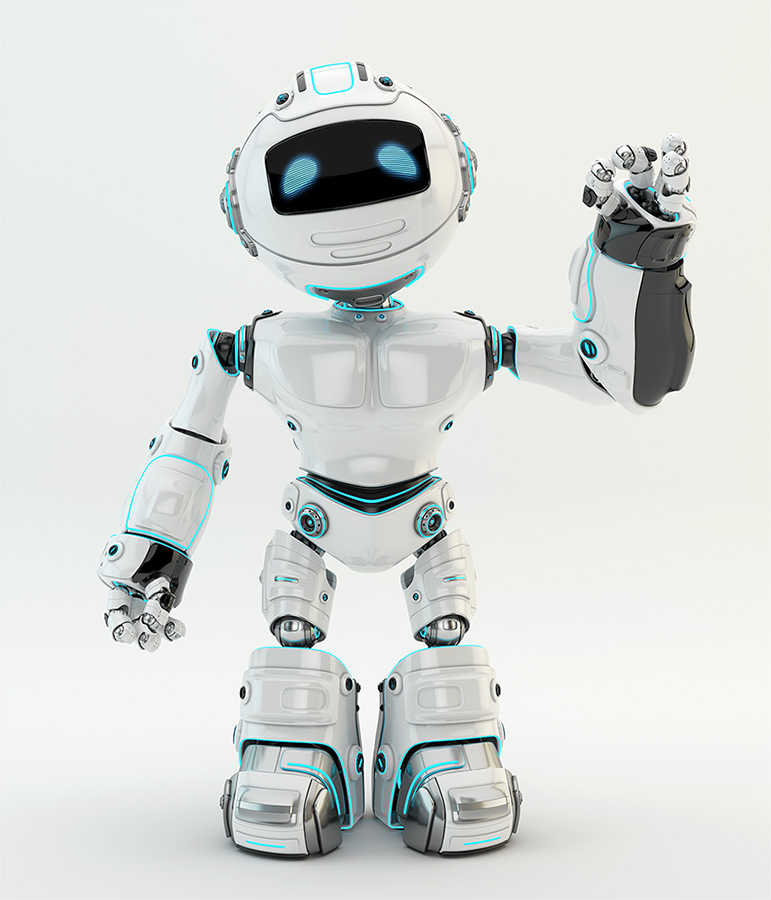 White robotic unit 5 character showing ok sign
