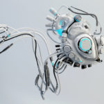 Robotic connected white heart. Futuristic cyber organ