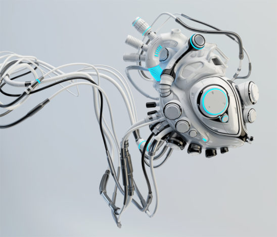 Robotic connected white heart. Futuristic cyber organ
