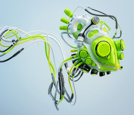 green wired robotic heart