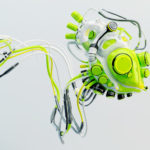 Wired green robotic heart. Bright futuristic organ