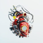 Red robotic futuristic heart organ
