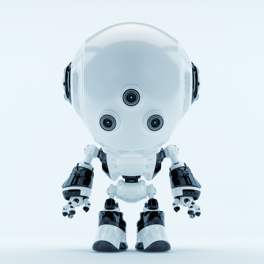White fun bot with three little eyes