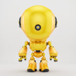 bright yellow robotic fun toy