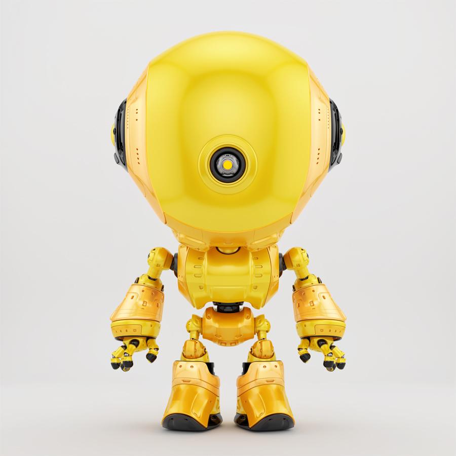 bright yellow robotic fun toy