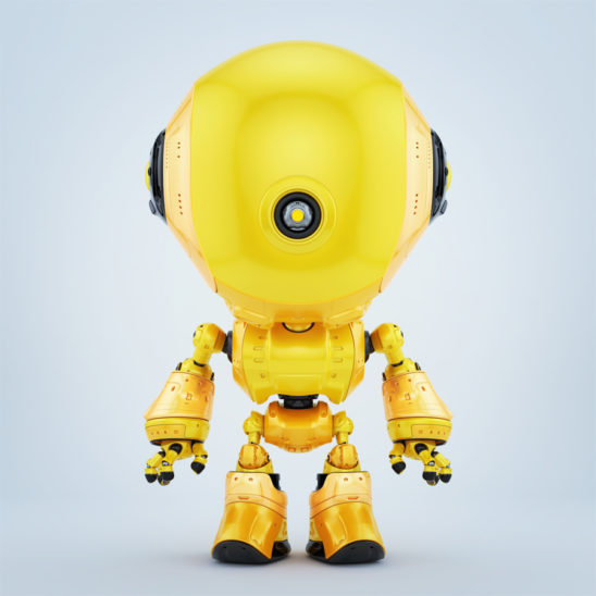 Bright yellow fun toy with one centered eye standing in front pose