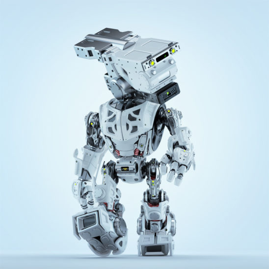 Walking assistant bot. White robotic guardian making step with head looking aside. Bluish color correction