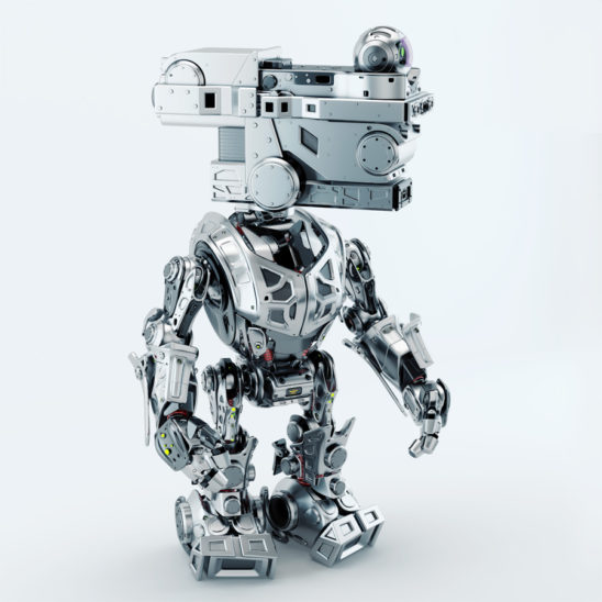 Assistant surveillance bot guardian. Side pose render of silver colored robot