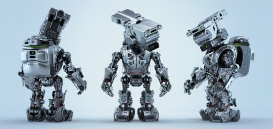 Three poses of assistant bot character. Front, back and side angles of silver robotic unit with bag