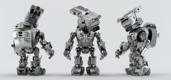 Three poses of assistant bot with bag. Front, back and side angles of silver robotic unit with backpack