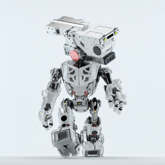 Walking assistant bot. White robotic guardian making step with head looking aside