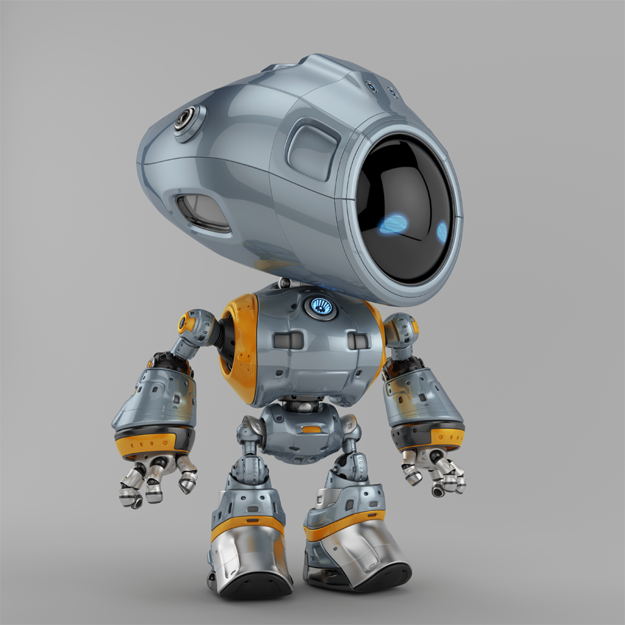 Unique bot with circle digital face