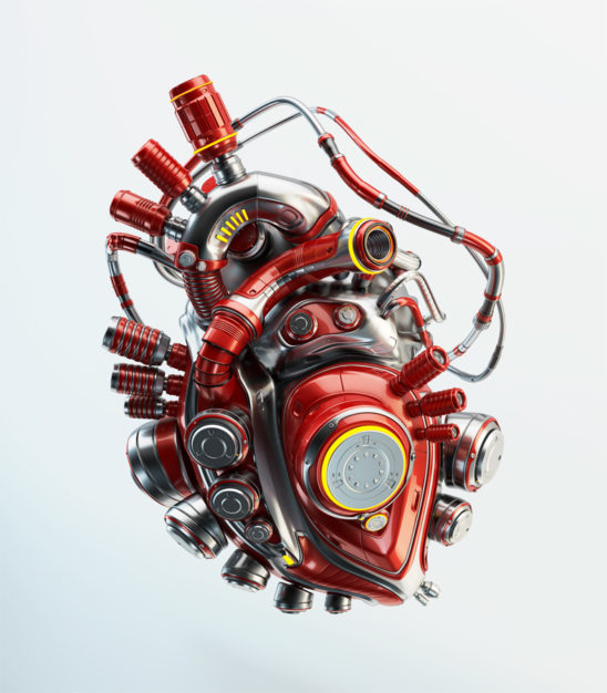 red robotic heart organ