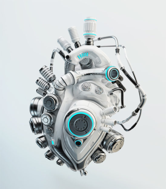 white artificial heart